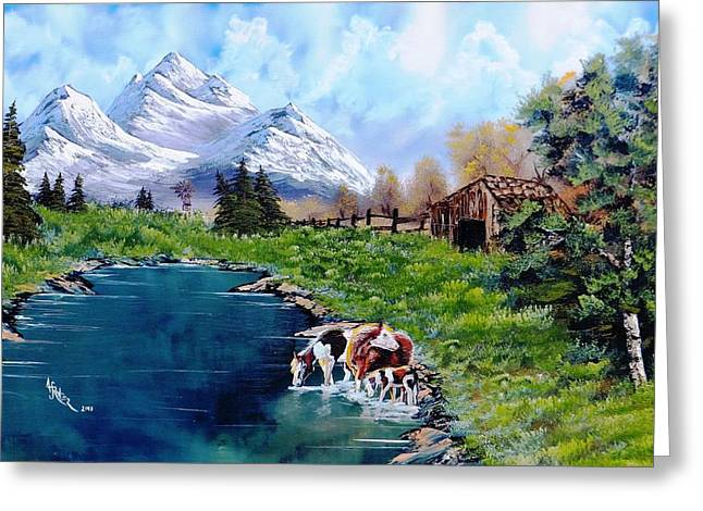 Haze Paintings Greeting Cards - Sheilas Ranch Greeting Card by Alfred Stringer