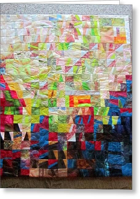 Quilted Wall Art Tapestries - Textiles Greeting Cards - Shekinah Fibre Art Greeting Card by Deana Harvey