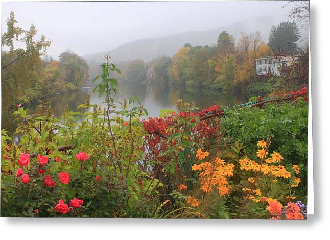 Shelburne Falls Bridge Of Flowers Autumn Mist Greeting Card by John Burk