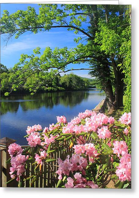 Bridge Of Flowers Greeting Cards - Shelburne Falls Deerfield River and Bridge of Flowers Greeting Card by John Burk