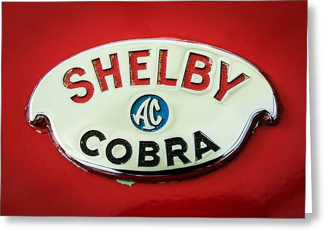 Famous Photographer Greeting Cards - Shelby AC Cobra Emblem -0282c Greeting Card by Jill Reger