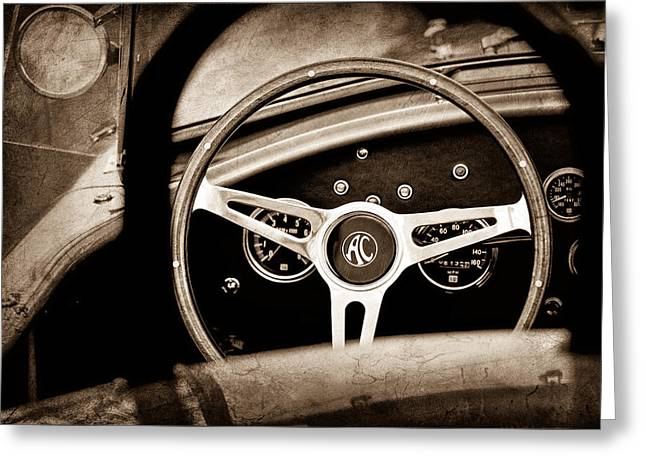Shelby Greeting Cards - Shelby AC Cobra Steering Wheel Emblem Greeting Card by Jill Reger