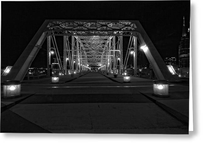 Streetlight Greeting Cards - Shelby Avenue Bridge In Black And White Greeting Card by Dan Sproul