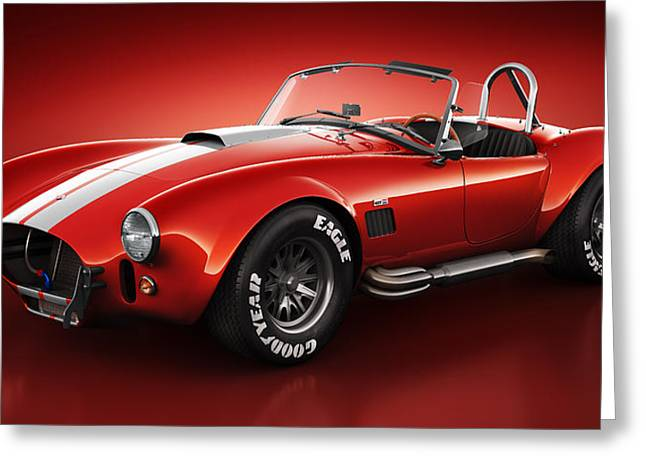 Realistic Greeting Cards - Shelby Cobra 427 - Bloodshot Greeting Card by Marc Orphanos