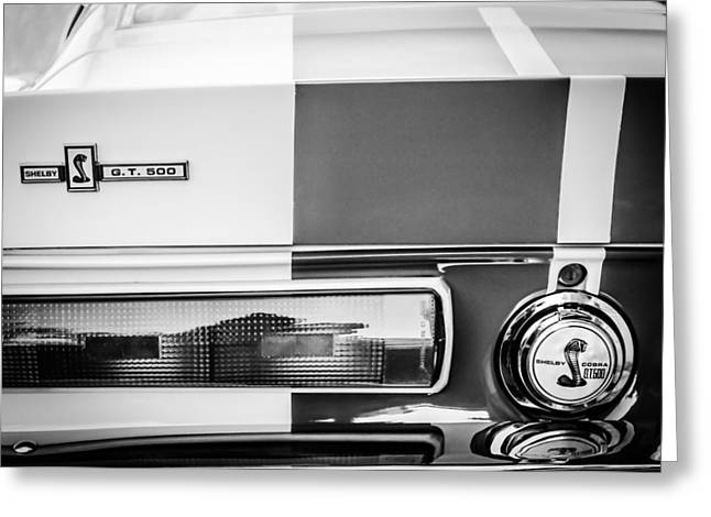 Shelby Cobra G.t. 500 Rear Emblems -0036bw Greeting Card by Jill Reger