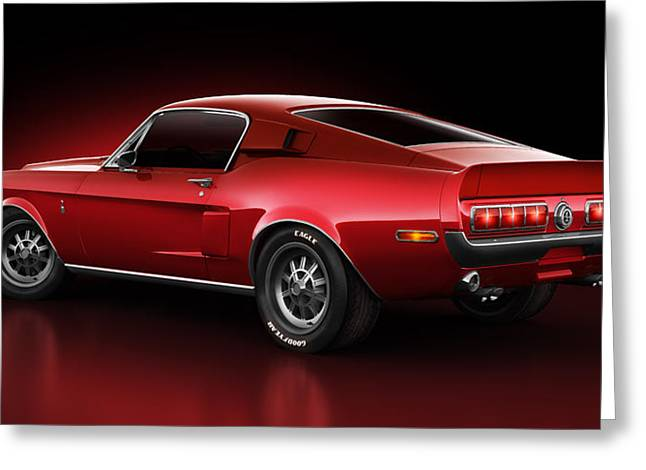 Render Digital Greeting Cards - Shelby GT500 - Redline Greeting Card by Marc Orphanos