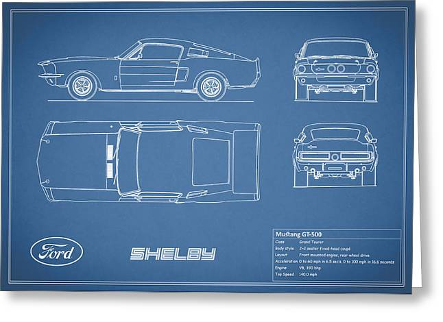 Mustang Greeting Cards - Shelby Mustang GT500 Blueprint Greeting Card by Mark Rogan