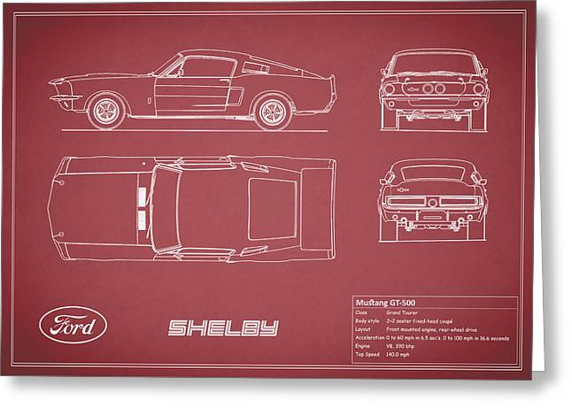 Mustang Greeting Cards - Shelby Mustang GT500 Blueprint - Red Greeting Card by Mark Rogan