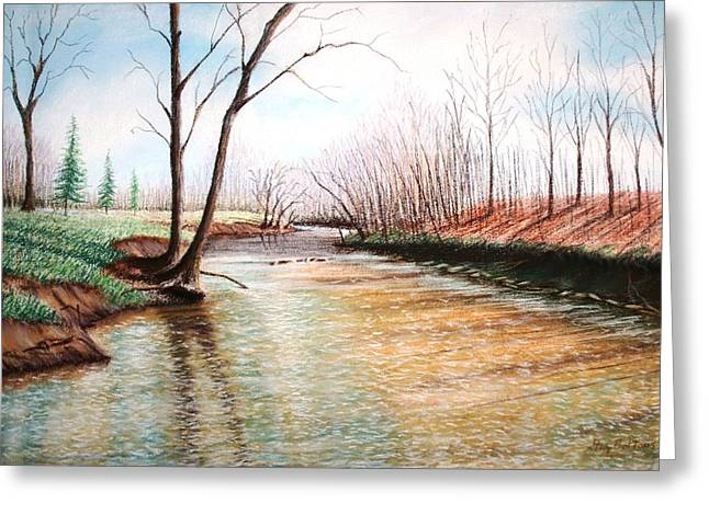 Blue Green Wave Greeting Cards - Shelby Stream Greeting Card by Stacy C Bottoms