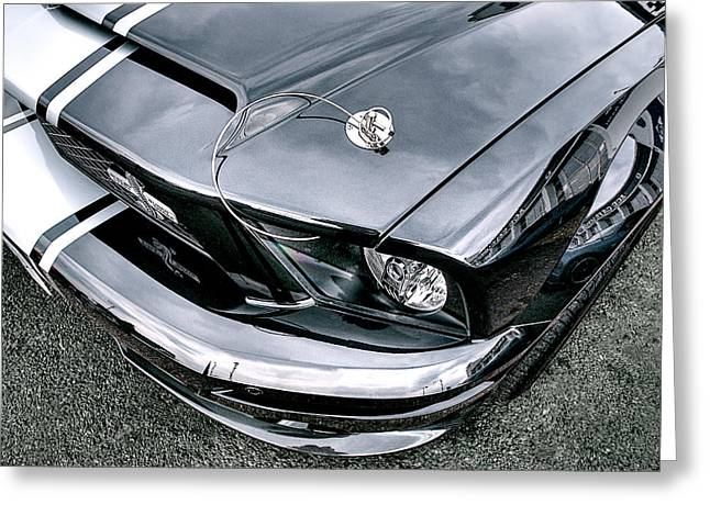 Cobra Art Greeting Cards - Shelby Super Snake at the Ace Cafe London Greeting Card by Gill Billington