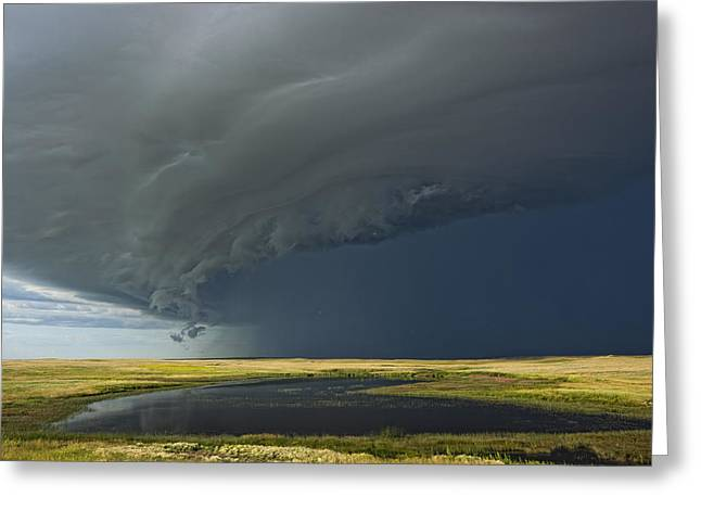 Pond In Park Greeting Cards - Shelf Cloud Heralds An Approaching Greeting Card by Robert Postma