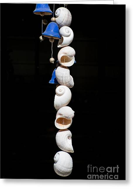 Wind Chimes Greeting Cards - Shell and Bell Wind Chime Greeting Card by Ian Monk
