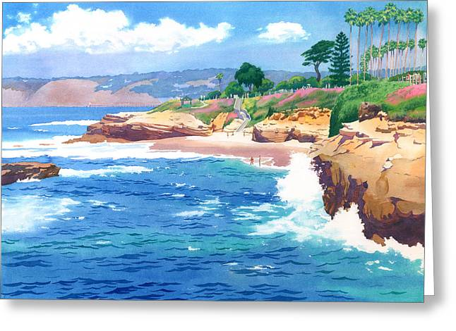 Southern Scene Greeting Cards - Shell Beach La Jolla Greeting Card by Mary Helmreich