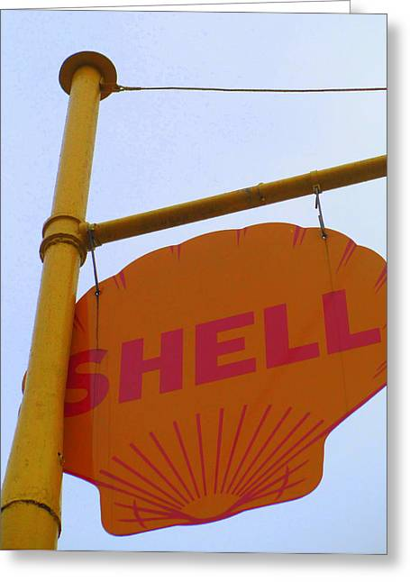 Shell Sign Greeting Cards - Shell Hanging Sign Greeting Card by Randall Weidner