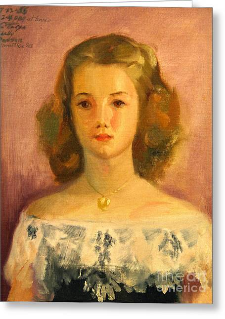 1950s Portraits Paintings Greeting Cards - Shelley Greeting Card by Art By Tolpo Collection