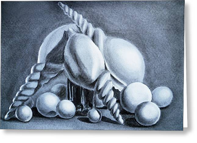 Seashell Drawings Greeting Cards - Shells Shells And Balls Still Life Greeting Card by Irina Sztukowski