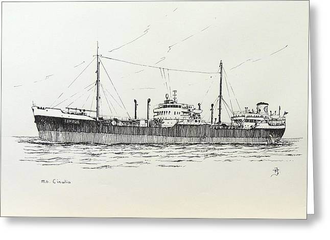 Seacape Drawings Greeting Cards - Shelltanker Cinulia Greeting Card by Frits Janse