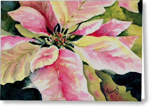 Shelly's Poinsettia Greeting Card by Sam Sidders