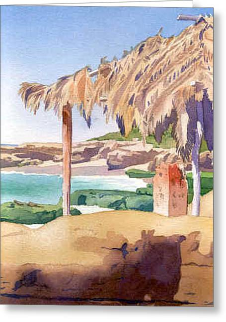 Beach Greeting Cards - Shelter at Wind n Sea Beach LJ Greeting Card by Mary Helmreich
