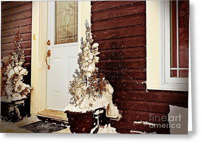 Drifting Snow Greeting Cards - Shelter from the Storm - Blizzard - Snow Storm Greeting Card by Barbara Griffin