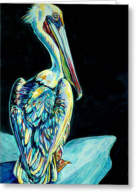 St Elizabeth Greeting Cards - Shelter Island Pelican Greeting Card by Derrick Higgins
