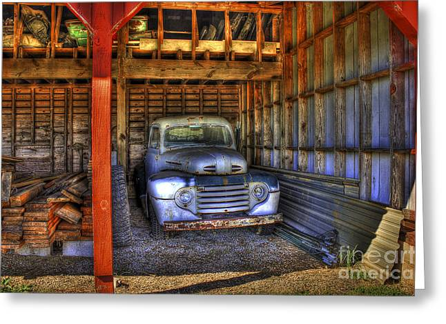 Chevrolet Pickup Truck Greeting Cards - Shelter Me Old Ford Pickup Truck  Greeting Card by Reid Callaway