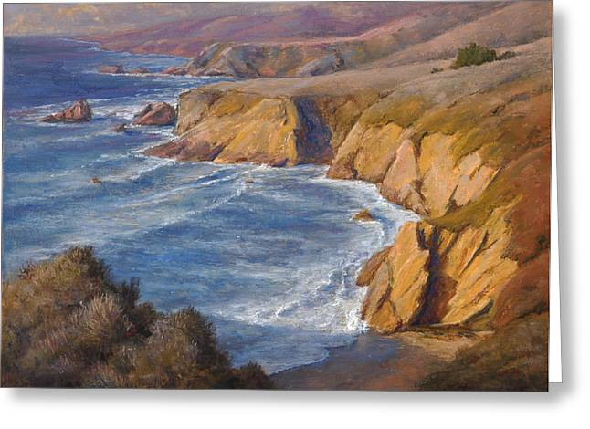Cliffs Pastels Greeting Cards - Sheltered Cove Greeting Card by Gary Huber