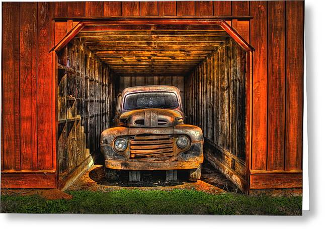 Rusty Trucks Greeting Cards - Sheltered  Greeting Card by Reid Callaway