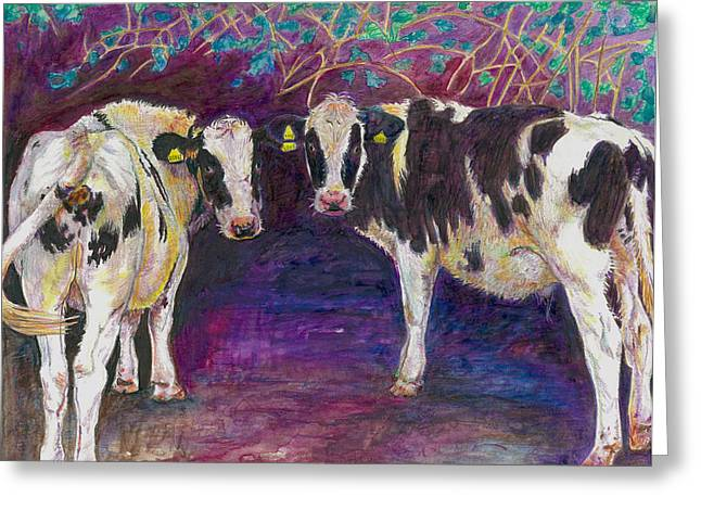 Moo Moo Greeting Cards - Sheltering cows Greeting Card by Helen White