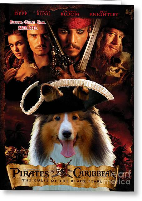 Pirates Paintings Greeting Cards - Sheltie - Shetland Sheepdog Art Canvas Print - Pirates of the Caribbean The Curse of the Black Pearl Greeting Card by Sandra Sij