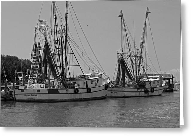Fishing Creek Greeting Cards - Shem Creek Shrimpers - Black and White Greeting Card by Suzanne Gaff