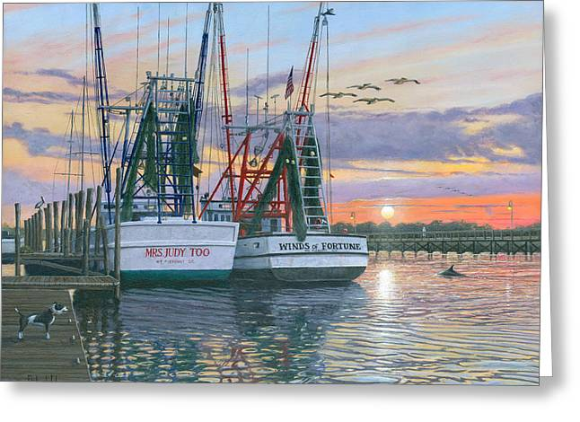 Golden Greeting Cards - Shem Creek Shrimpers Charleston  Greeting Card by Richard Harpum