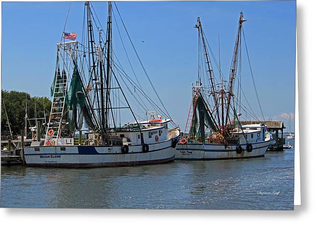 Shem Creek Shrimpers Greeting Card by Suzanne Gaff