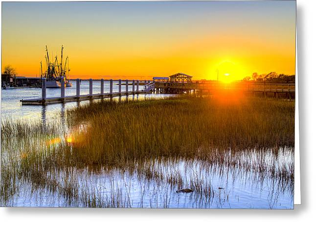 Fishing Boat Greeting Cards - Shem Creek Sunset - Charleston SC  Greeting Card by Drew Castelhano