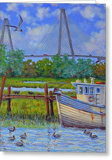 Ravenal Bridge Greeting Cards - Shem Creek View of Bridge Greeting Card by Dwain Ray