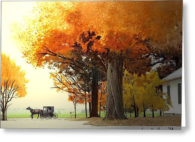 Horse And Buggy Greeting Cards - Shenandoah Autumn Greeting Card by Joan Shaver