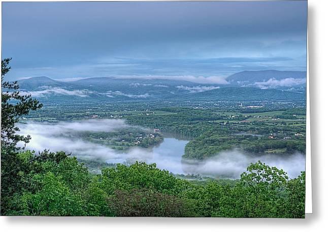 Shenandoah Evening Fog Greeting Card by Lara Ellis