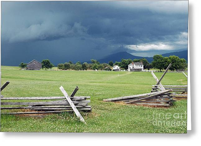 Civil Greeting Cards - Storm Clouds Over the Field of Shoes Greeting Card by Broken  Soldier