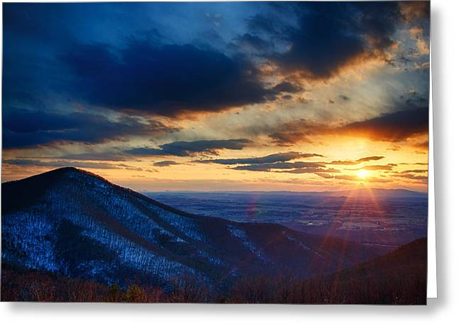 Scenic Drive Greeting Cards - Shenandoah Sunset Greeting Card by Joan Carroll