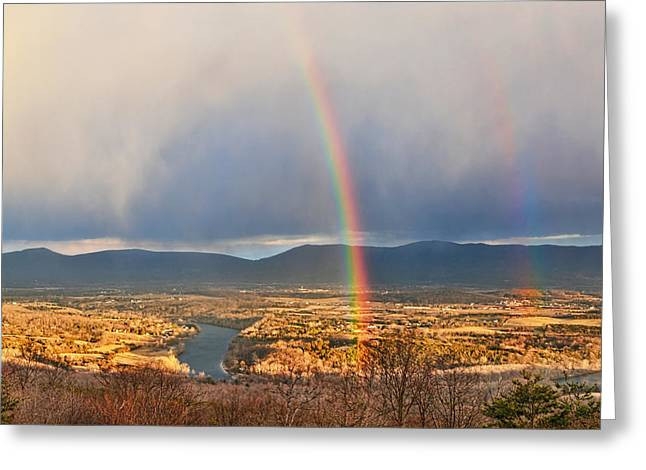 Indigo Blue Violet Greeting Cards - Shenandoah Valley Winter Rainbow Greeting Card by Lara Ellis