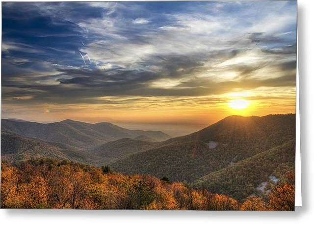 Scenic Drive Greeting Cards - Shenandoah Virginia sunset Greeting Card by Pierre Leclerc Photography