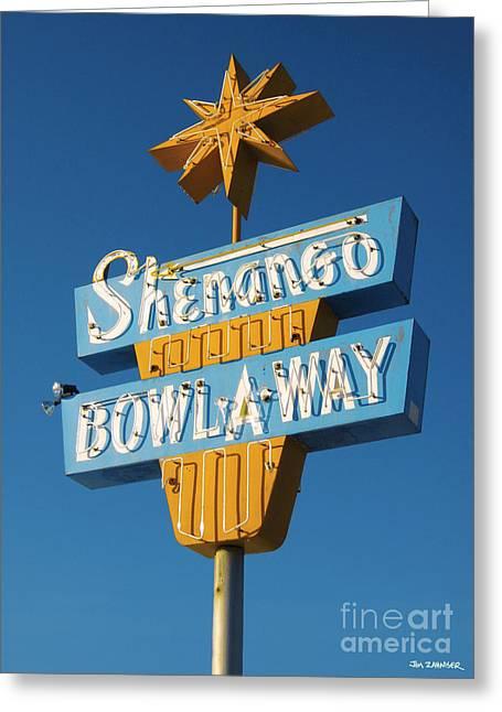 Rock N Roll Greeting Cards - Shenango Bowl-A-Way Greeting Card by Jim Zahniser