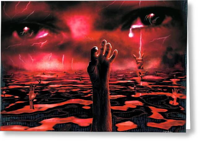 Torment Greeting Cards - The Lake Of Fire Greeting Card by Bill Stephens
