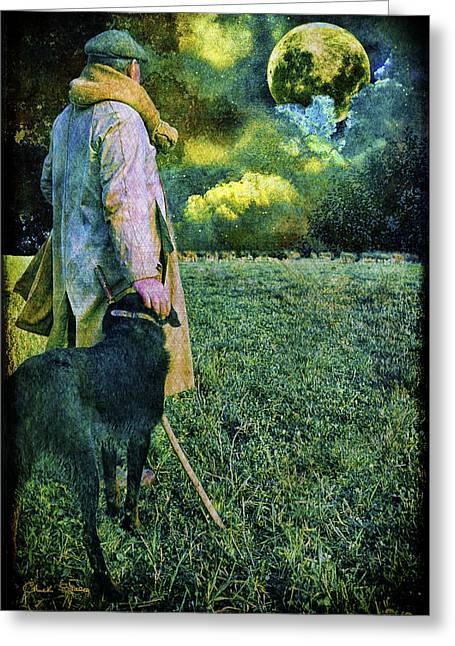 Staley Greeting Cards - Shepherd and Moon Greeting Card by Chuck Staley