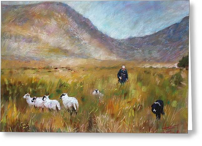 Mountain Valley Drawings Greeting Cards - Shepherd and Sheep in the Valley  Greeting Card by Viola El