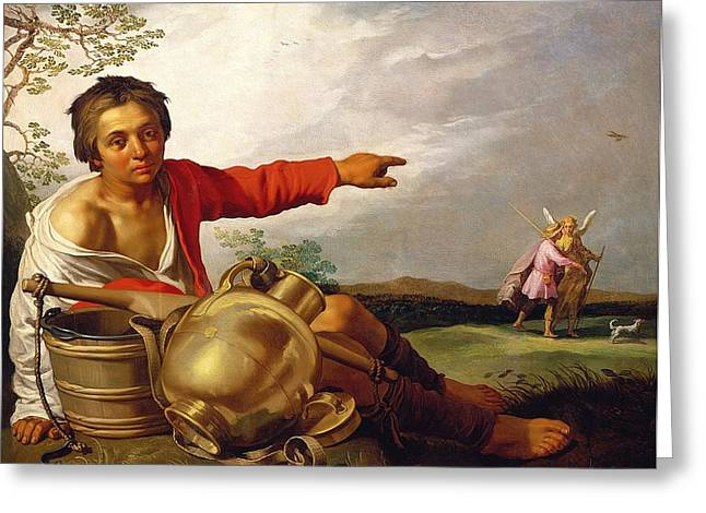 Shepherds Greeting Cards - Shepherd Boy Pointing at Tobias and the Angel Greeting Card by Abraham Bloemaert