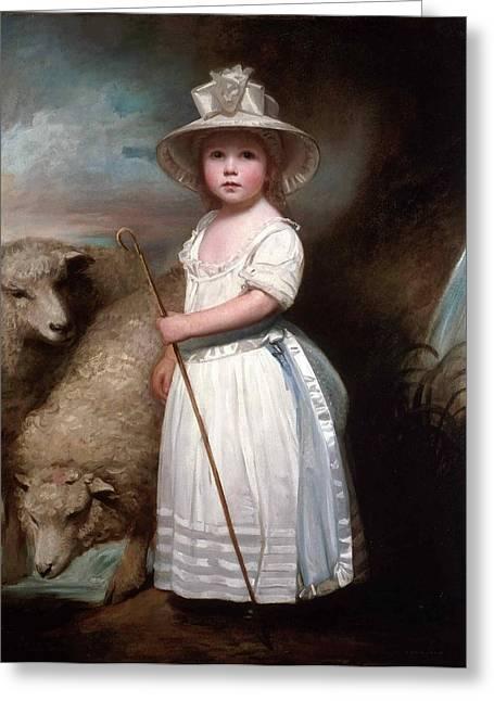 Shepherd Girl. Little Bo-peep Greeting Card by George Romney