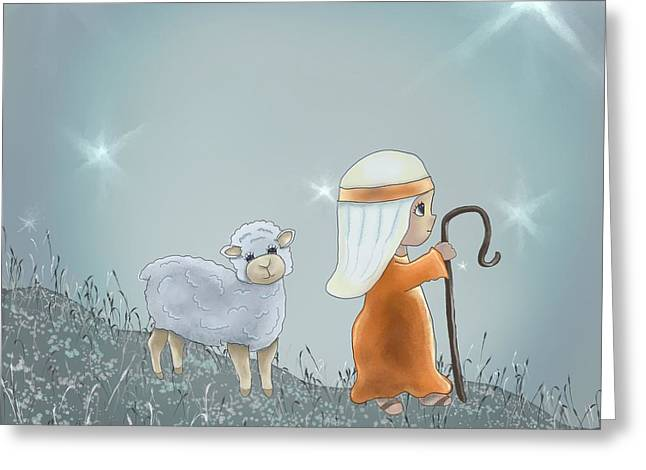 Leading Sheep Greeting Cards - Shepherd leading his sheep Greeting Card by Michelle Lanoue