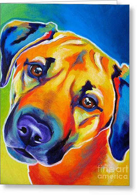 Alicia Vannoy Call Paintings Greeting Cards - Rhodesian Ridgeback - Puppy Dog Eyes Greeting Card by Alicia VanNoy Call