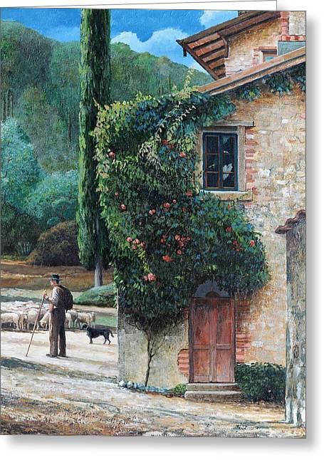 Italian Landscapes Greeting Cards - Shepherd, Peralta, Tuscany, 2001 Oil On Canvas Greeting Card by Trevor Neal